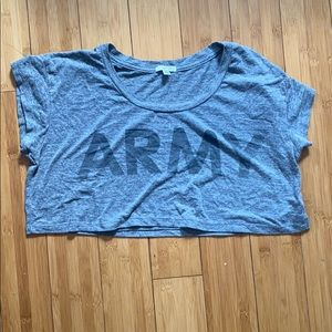 Gray army crop top size medium
